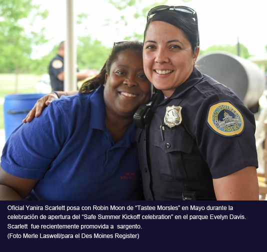 Officers Yanira Scarlett poses with Robin Moon of Tastee Morsles in May during the Safe Summer Kickoff celebration at Evelyn Davis Park. Scarlett was recently promoted to sergeant. (Photo: Merle Laswell/For the Register)